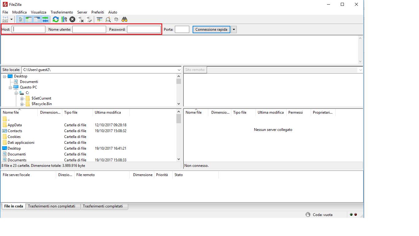 Inserimento dati su FileZilla